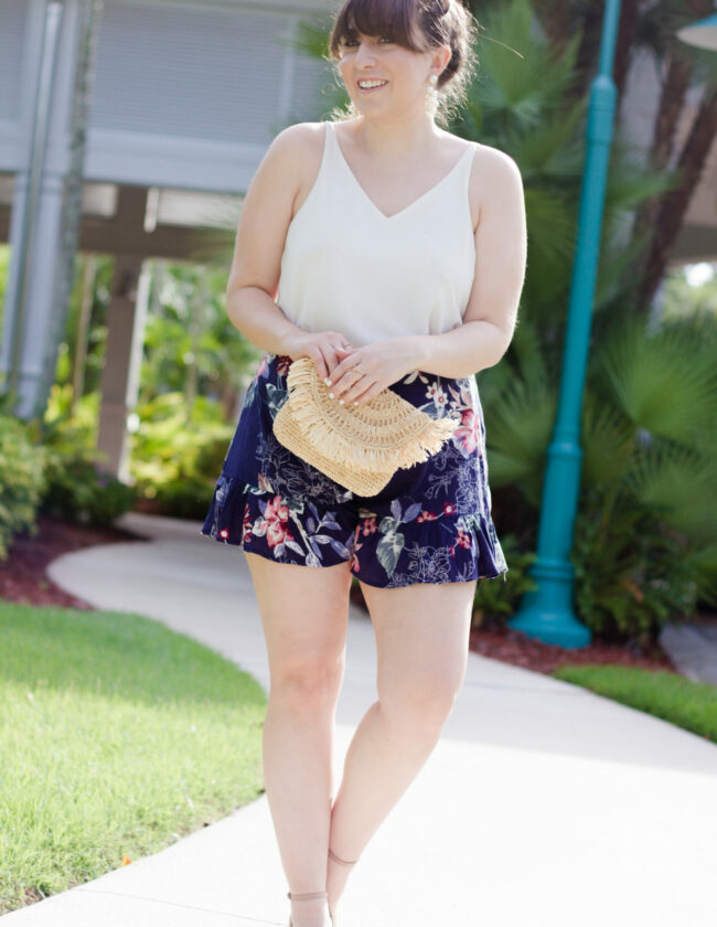 Floral shorts and camisole outfit idea
