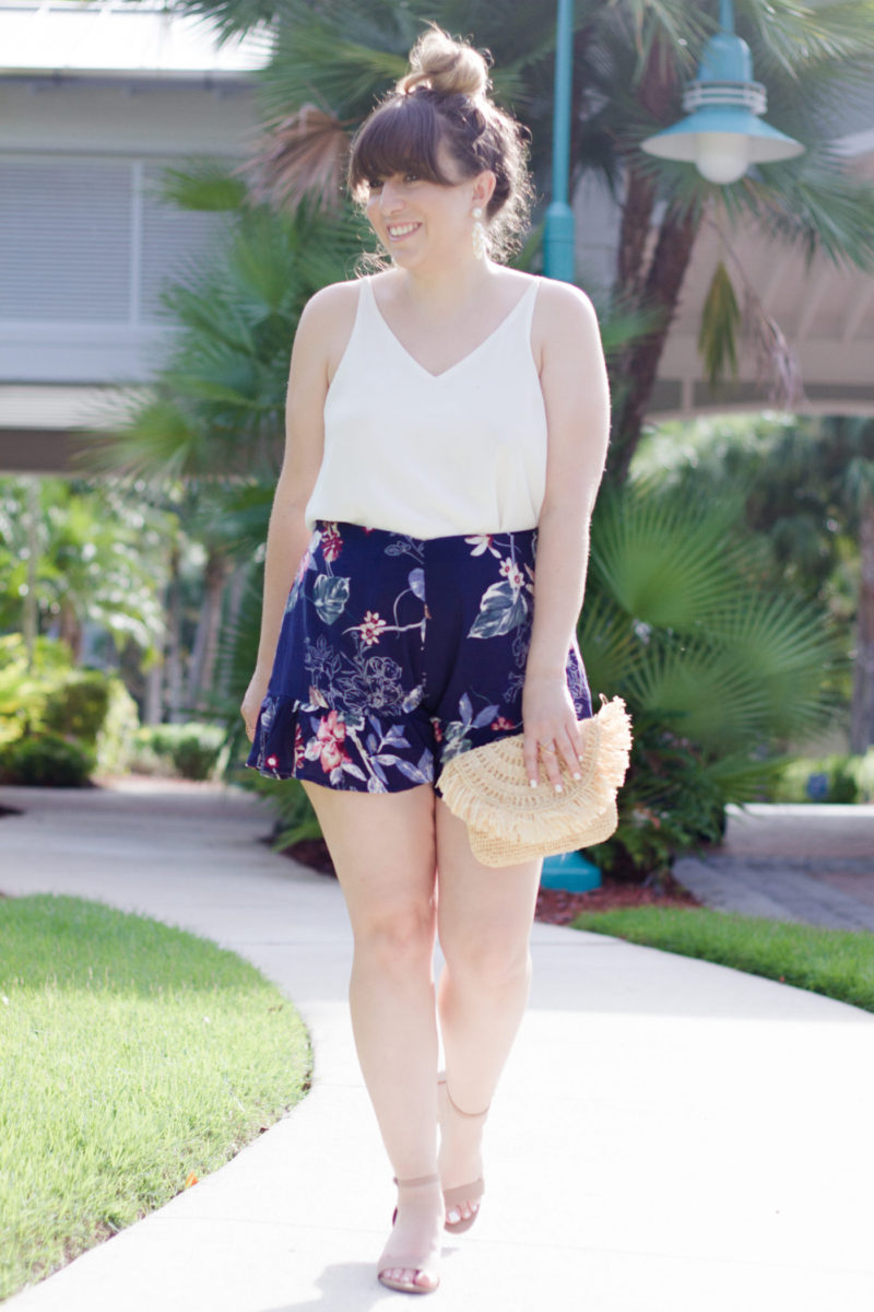 Miami fashion blogger Stephanie Pernas wearing Soprano floral ruffle shorts and a camisole