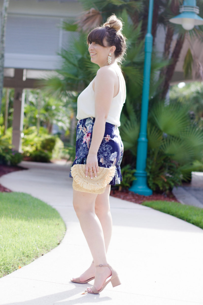 Miami fashion blogger Stephanie Pernas wearing Soprano floral shorts and a Topshop camisole.