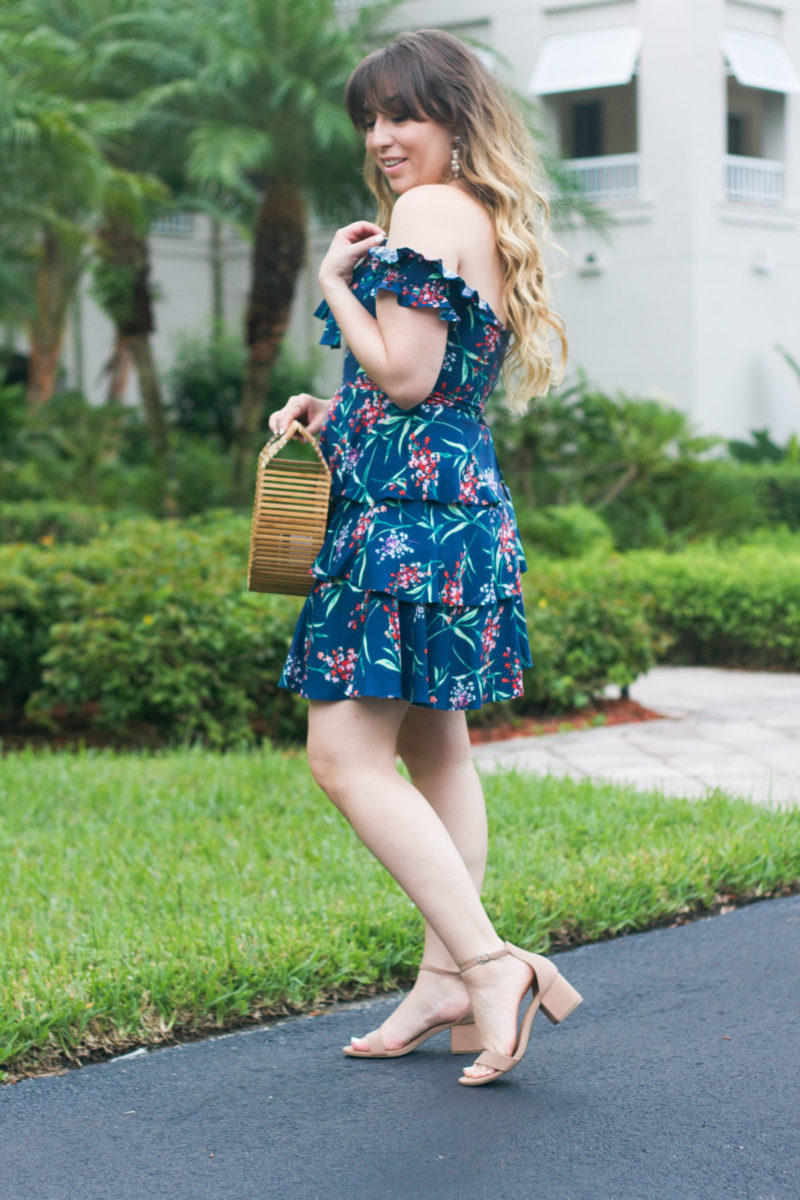 Miami fashion blogger Stephanie Pernas styles a floral off the shoulder dress