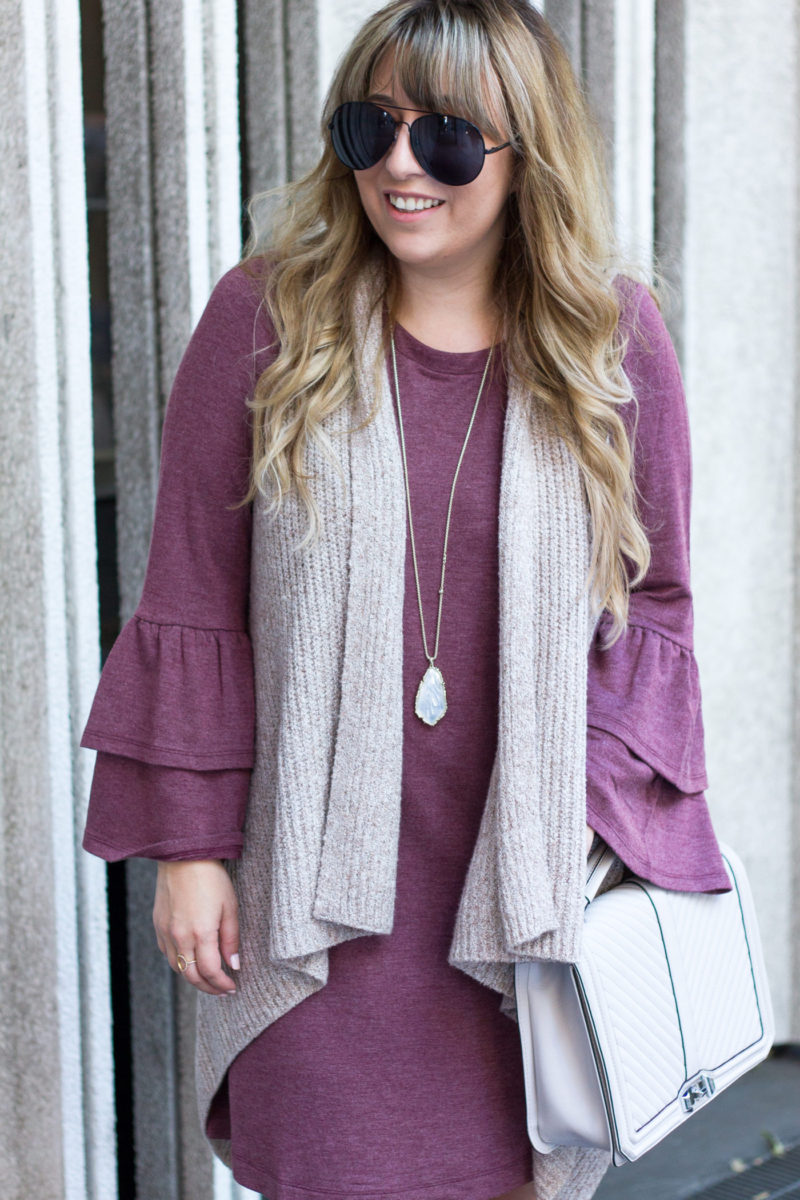 Fall Outfit Idea = Bell sleeve t shirt dress and sweater vest