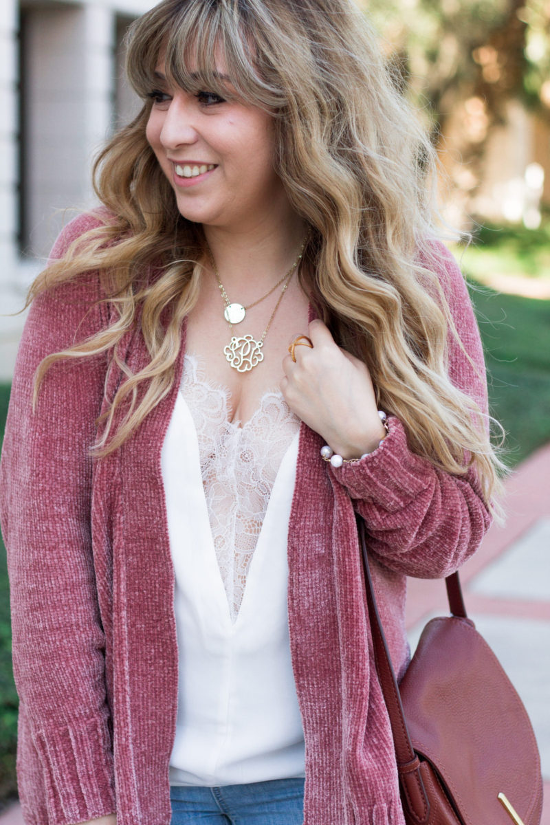 Cardigan and camisole outfit for fall