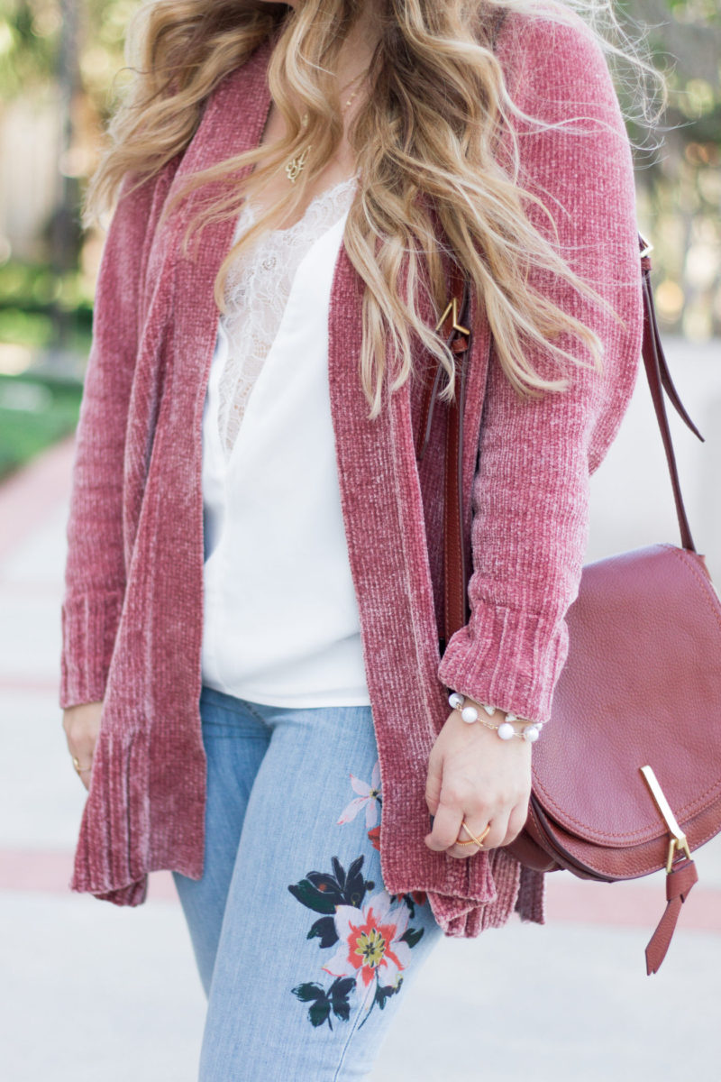 Chenille cardigan and jeans outfit