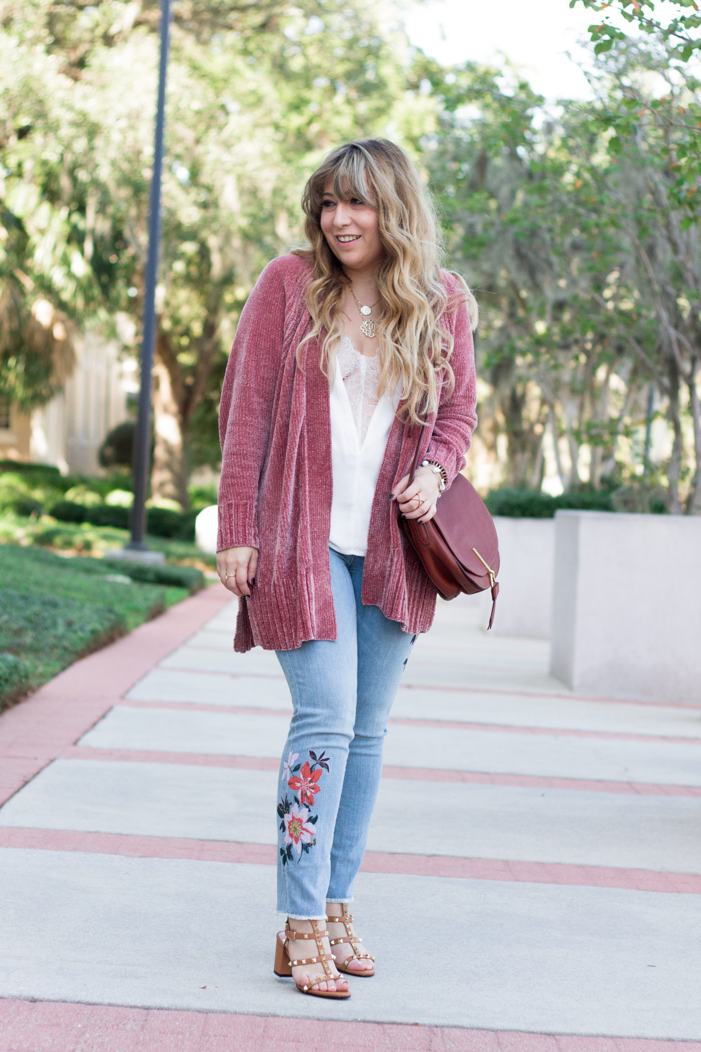 Floral jeans and cardigan outfit for fall