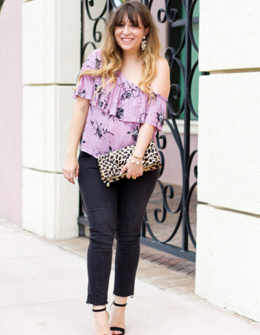 Purple floral top and jeans