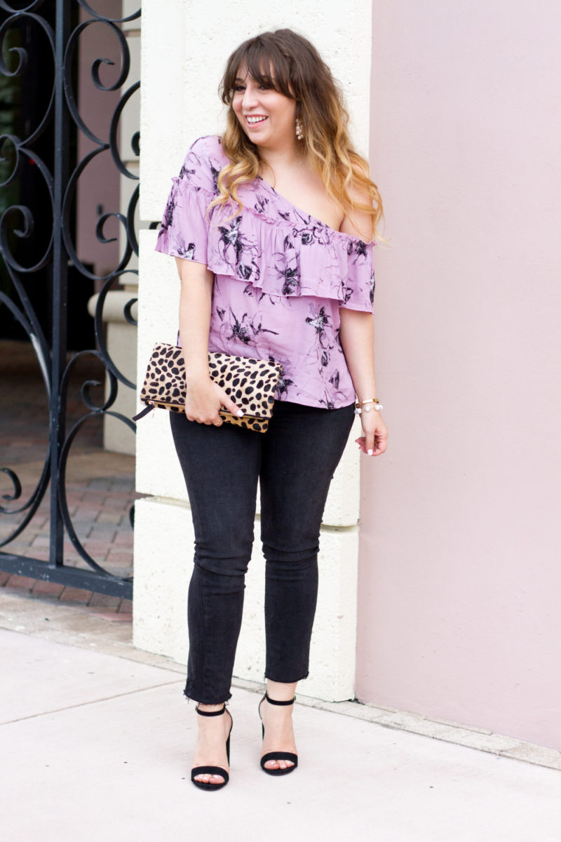 Floral one shoulder top and distressed jeans outfit