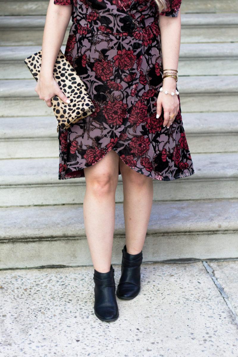 Velvet dress and booties