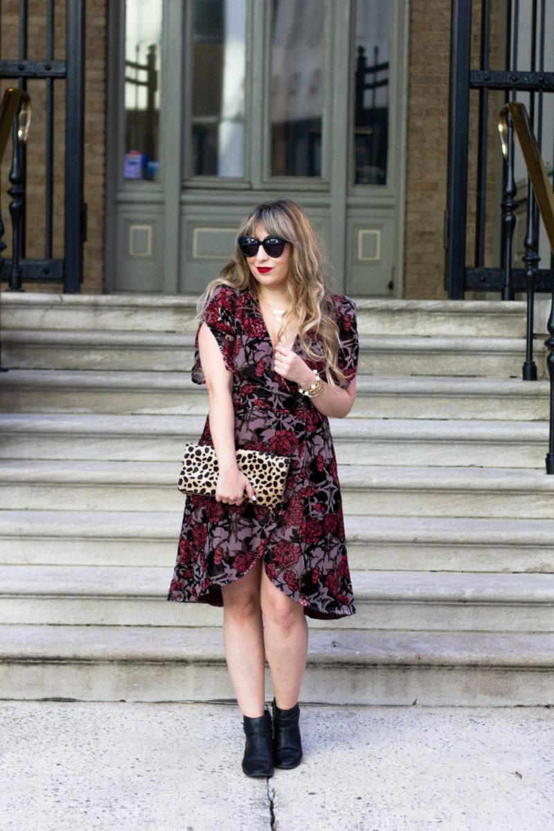Floral velvet midi dress