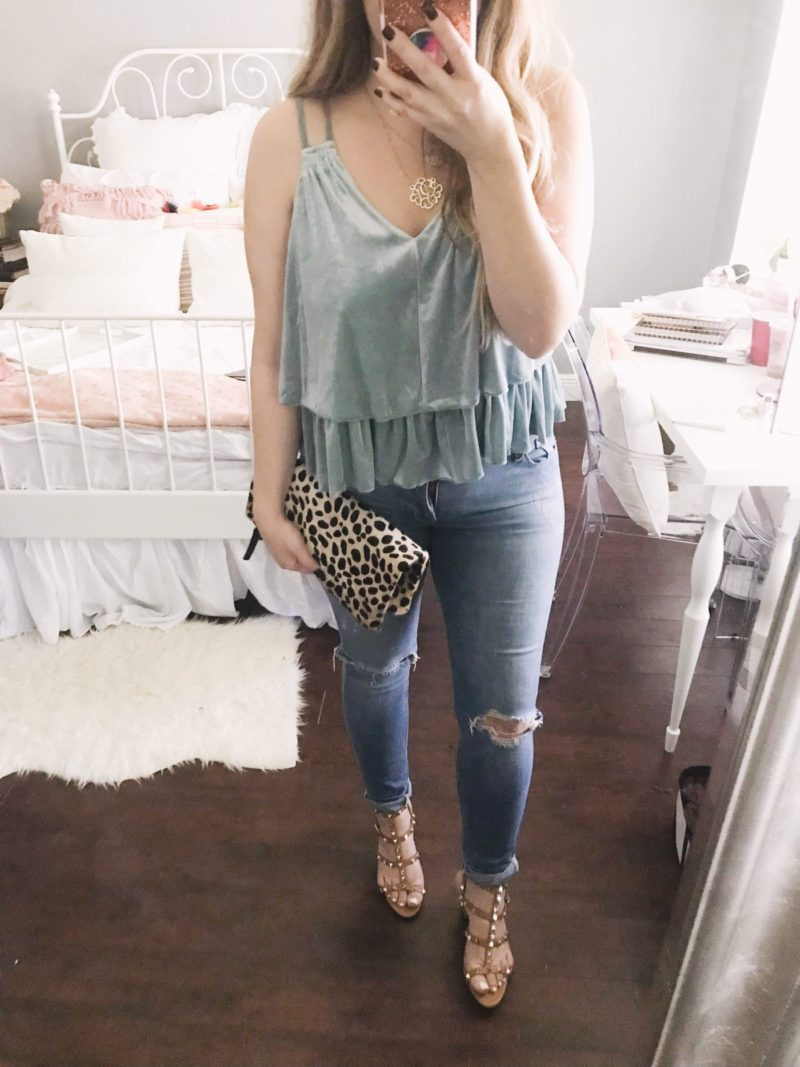 Velvet top and jeans