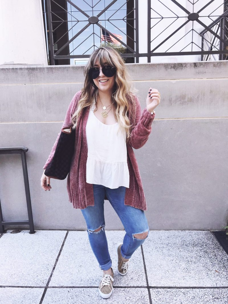 Chenille cardigan and jeans outfit for fall