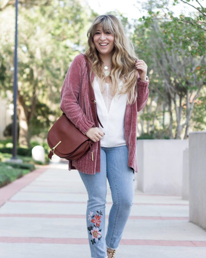 Chenille cardigan and floral jeans outfit for fall