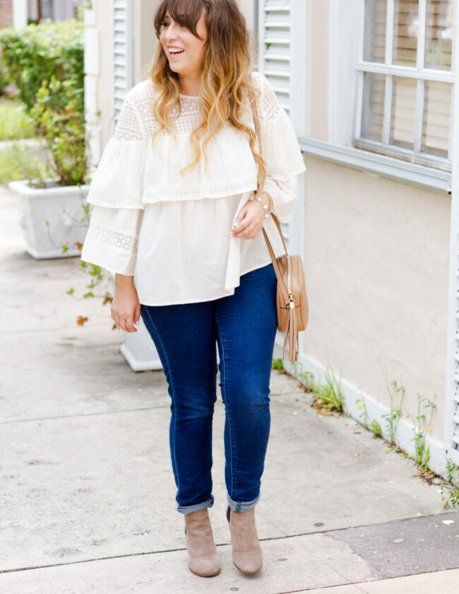LOFT layered ruffle top + jeans outfit for fall_-5