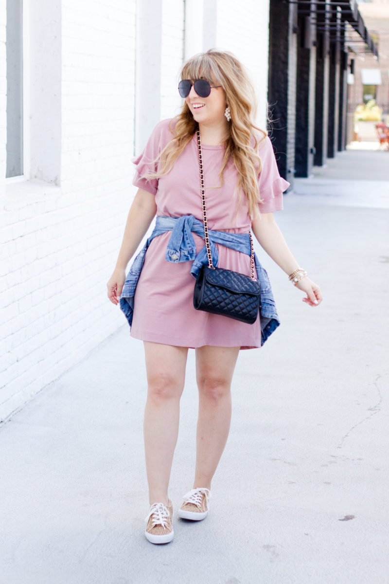 Pink t shirt dress and cheetah sneakers for fall