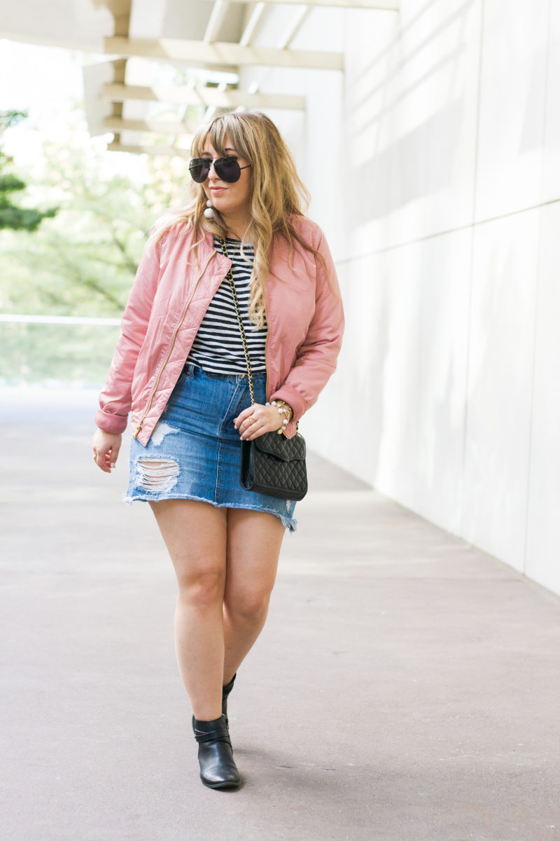 Pink bomber jacket outfit idea