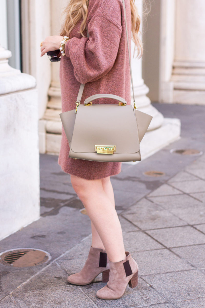 Oversized sweaterdress for fall + Zac Posen bag
