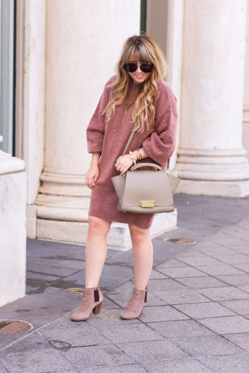 Fall sweaterdress outfit