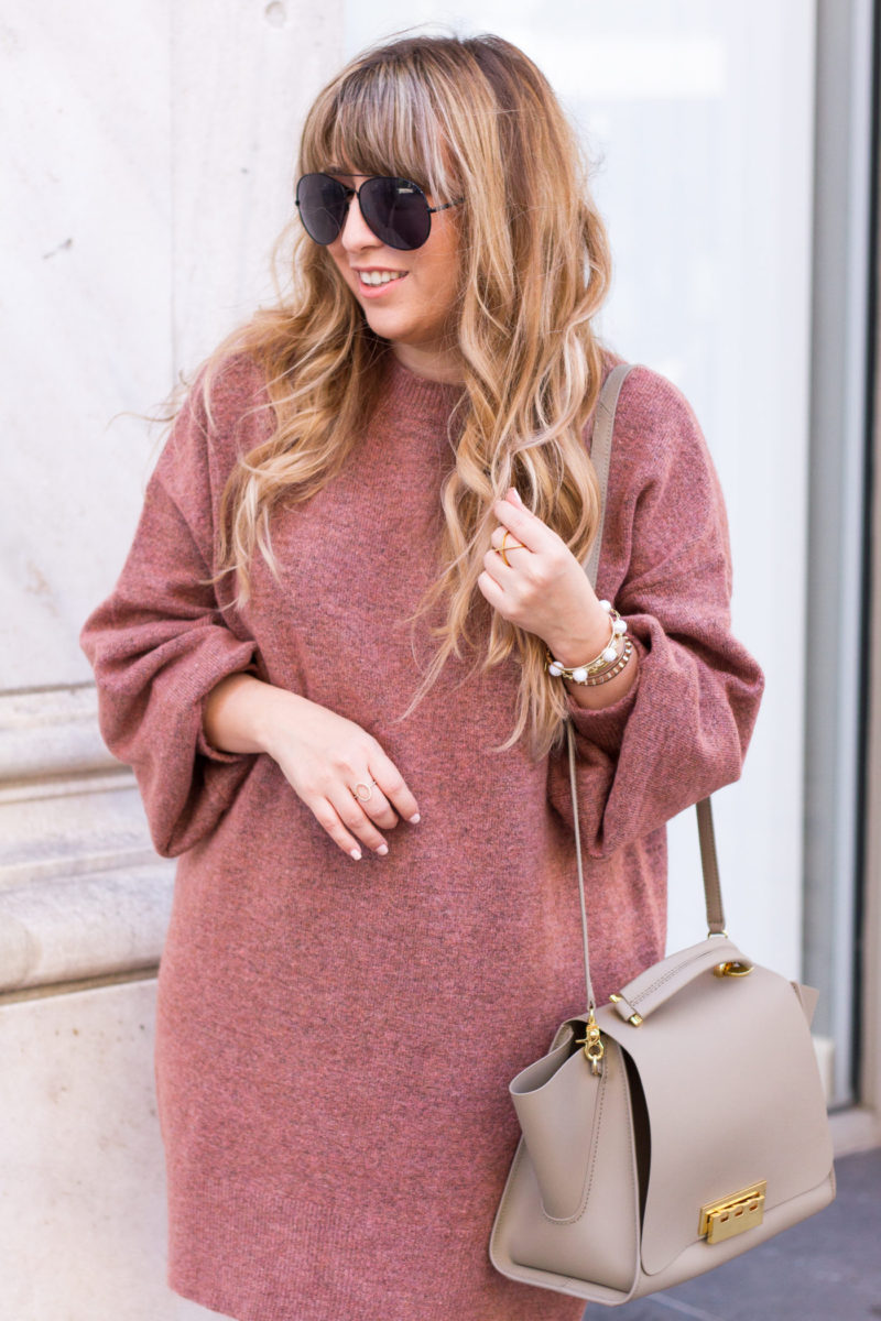 Mauve sweaterdress for fall