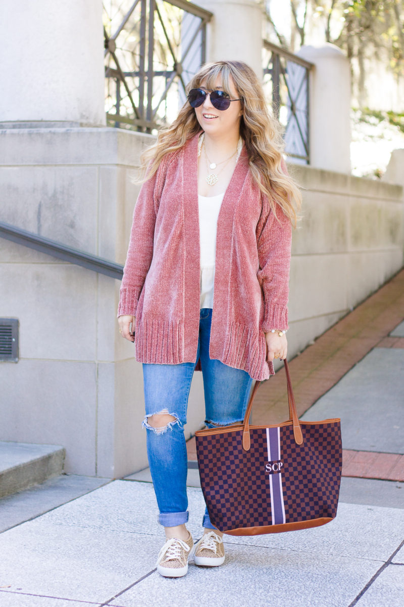 Pink chenille cardigan outfit