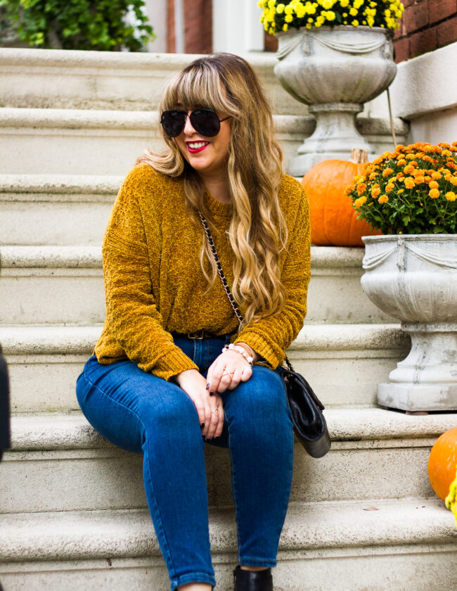 Chenille sweater and jeans