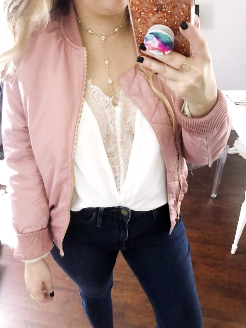 Pink bomber jacket and cami outfit