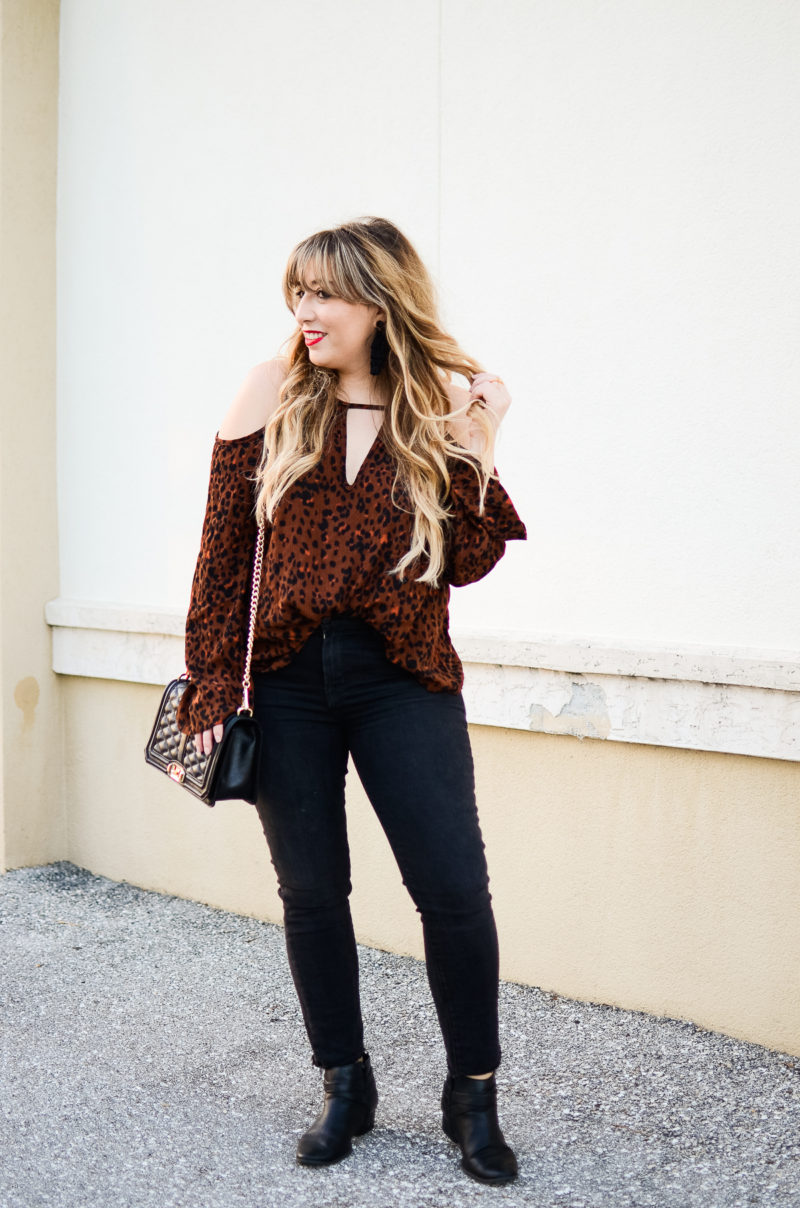 Leopard Cold Shoulder Top + Black Jeans