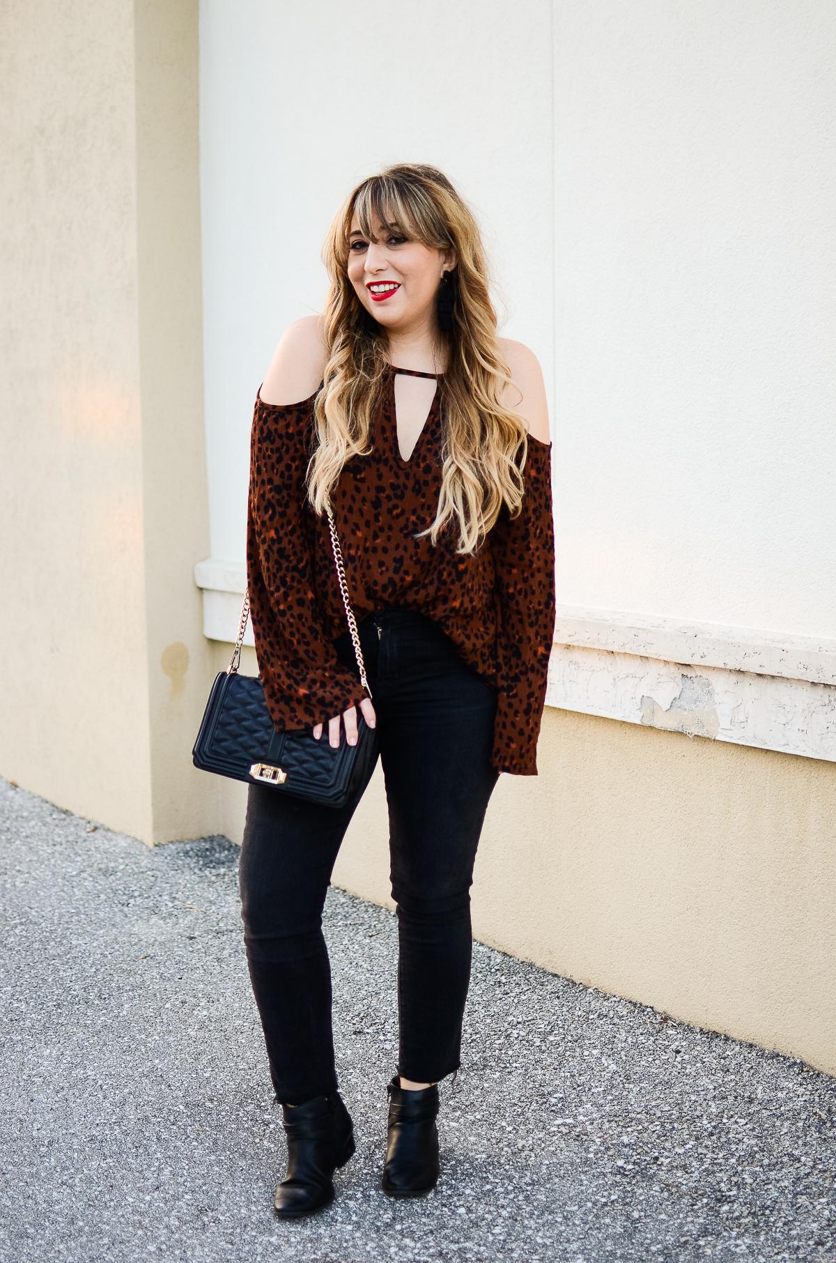 Leopard Cold Shoulder Top + Black Jeans