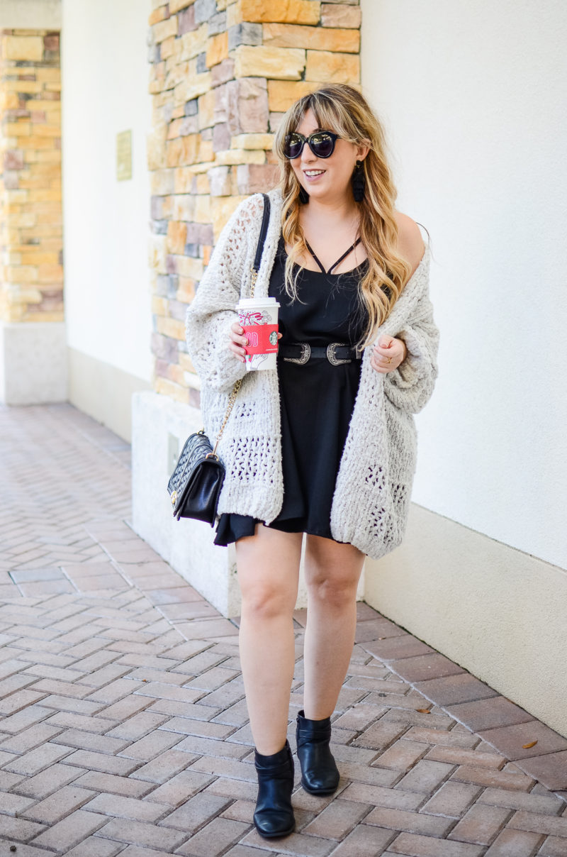 Oversized cardigan and dress outfit idea