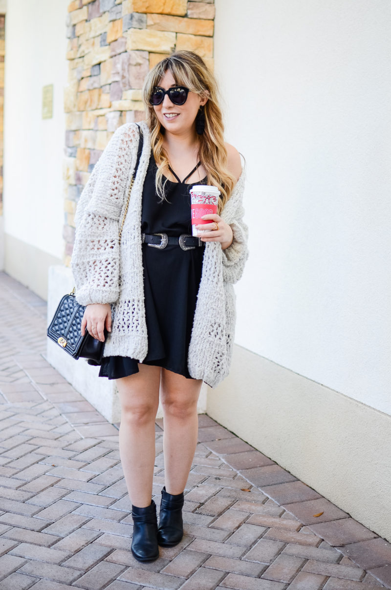 Boyfriend cardigan and dress outfit