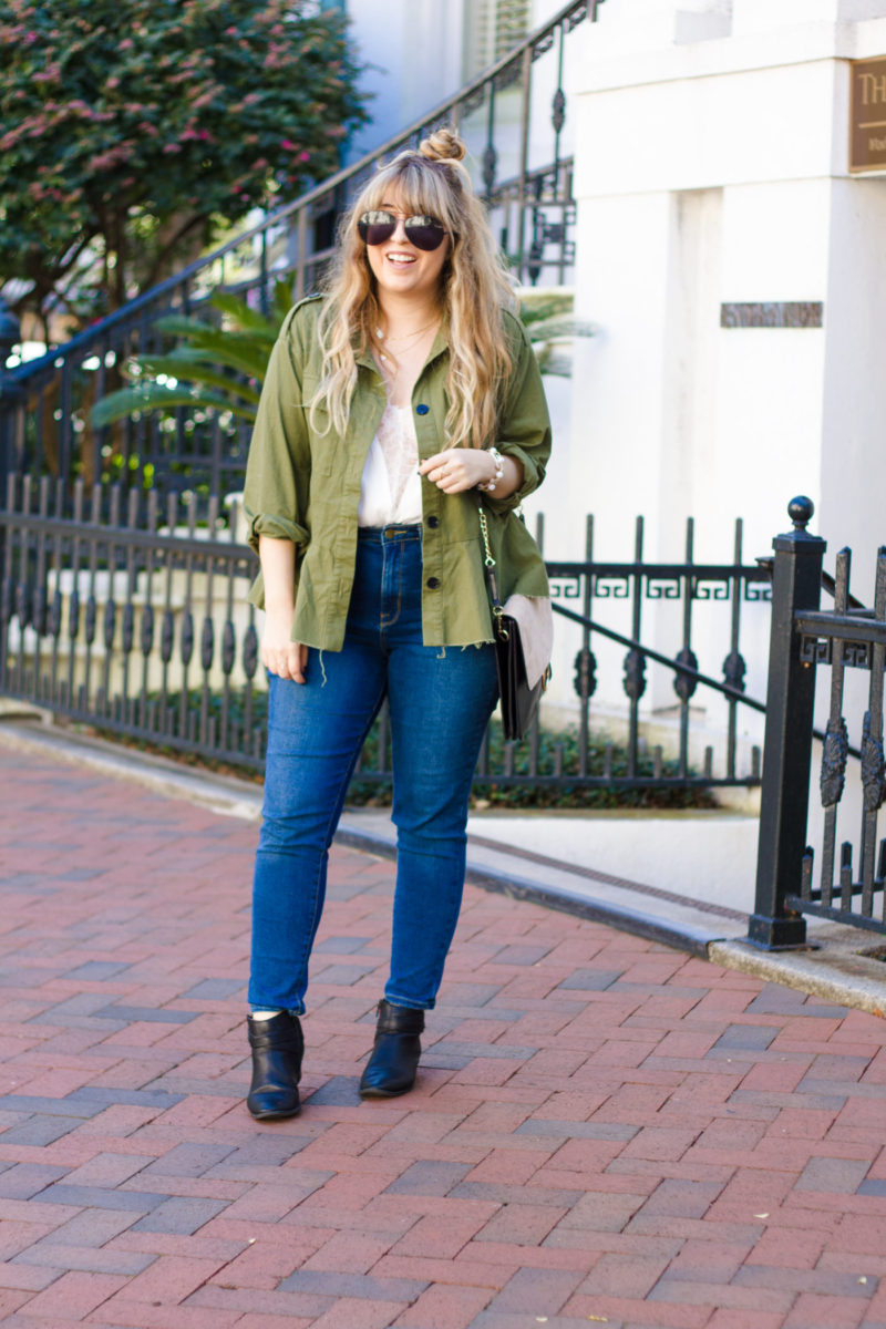 Peplum field jacket and jeans