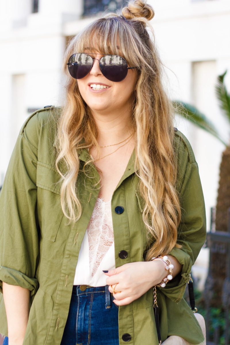 Cute military jacket and lace cami outfit idea for fall