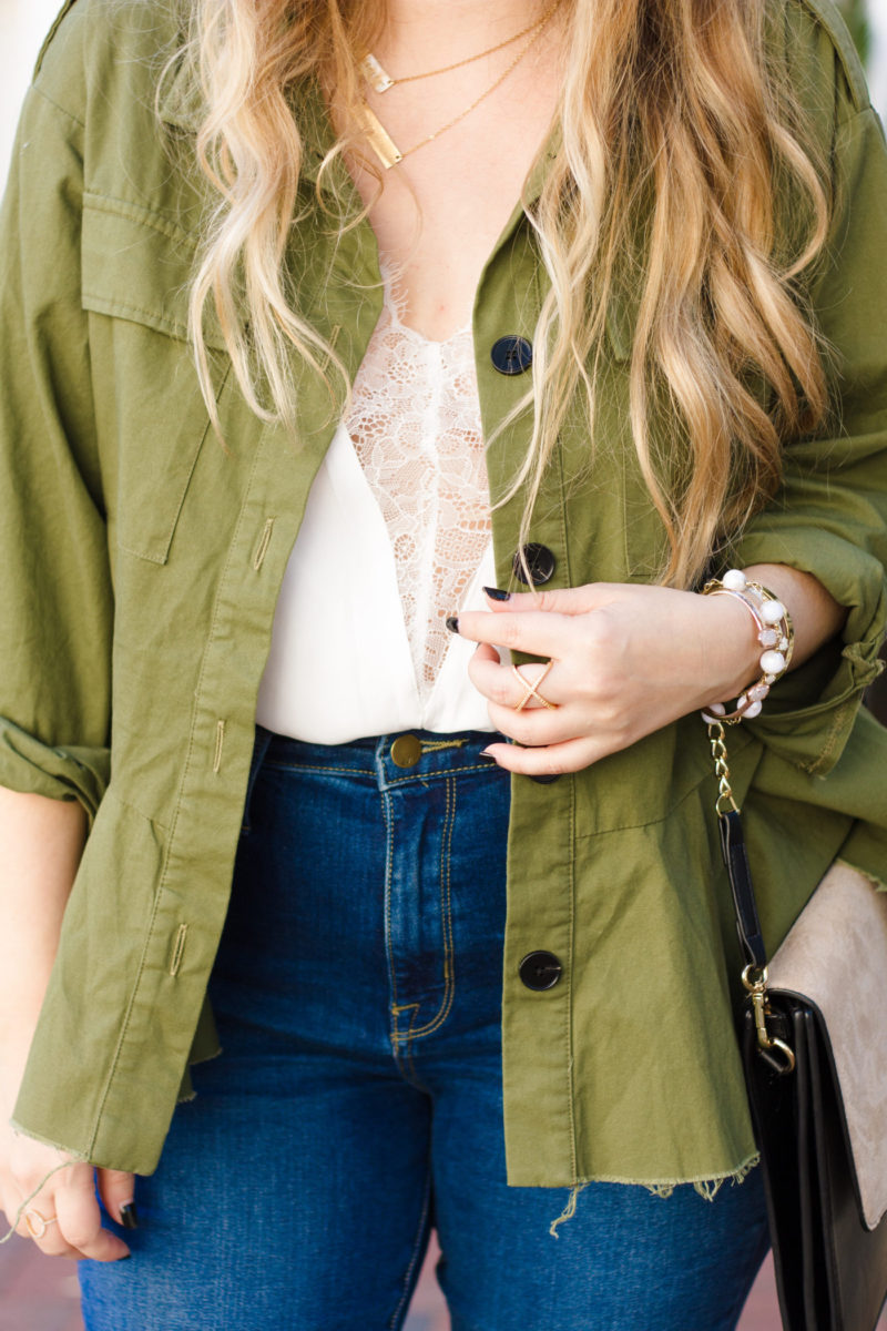 Utility jacket and lace cami outfit