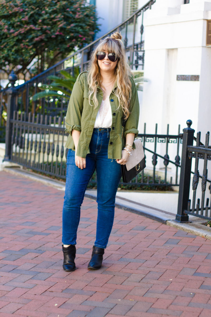 Peplum utility jacket outfit for fall