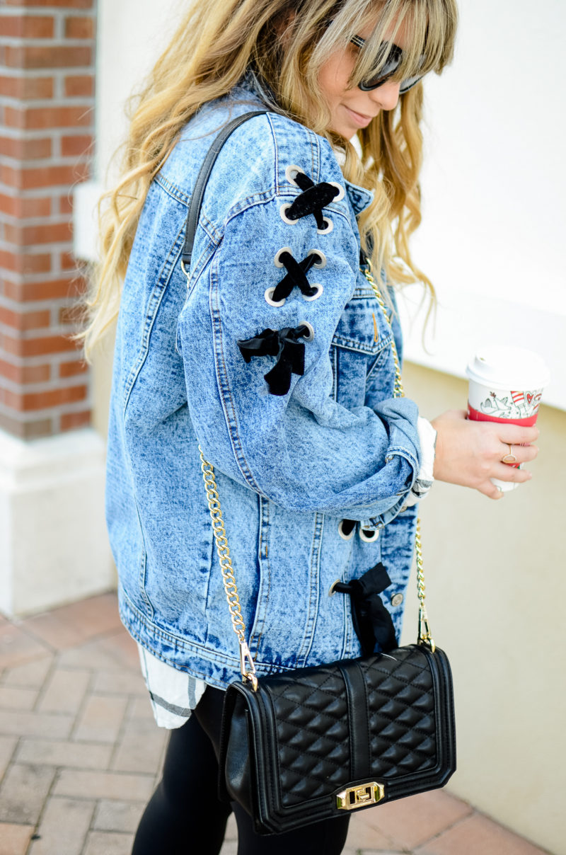 Lace up denim jacket for fall