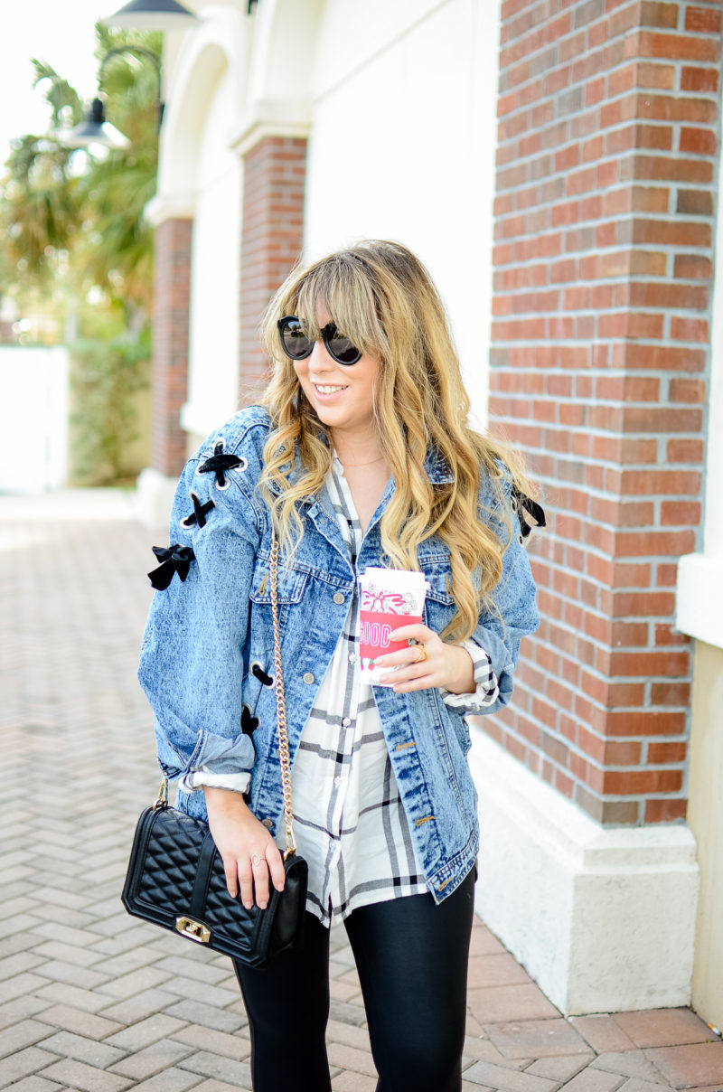 Oversized denim jacket and leather leggings outfit