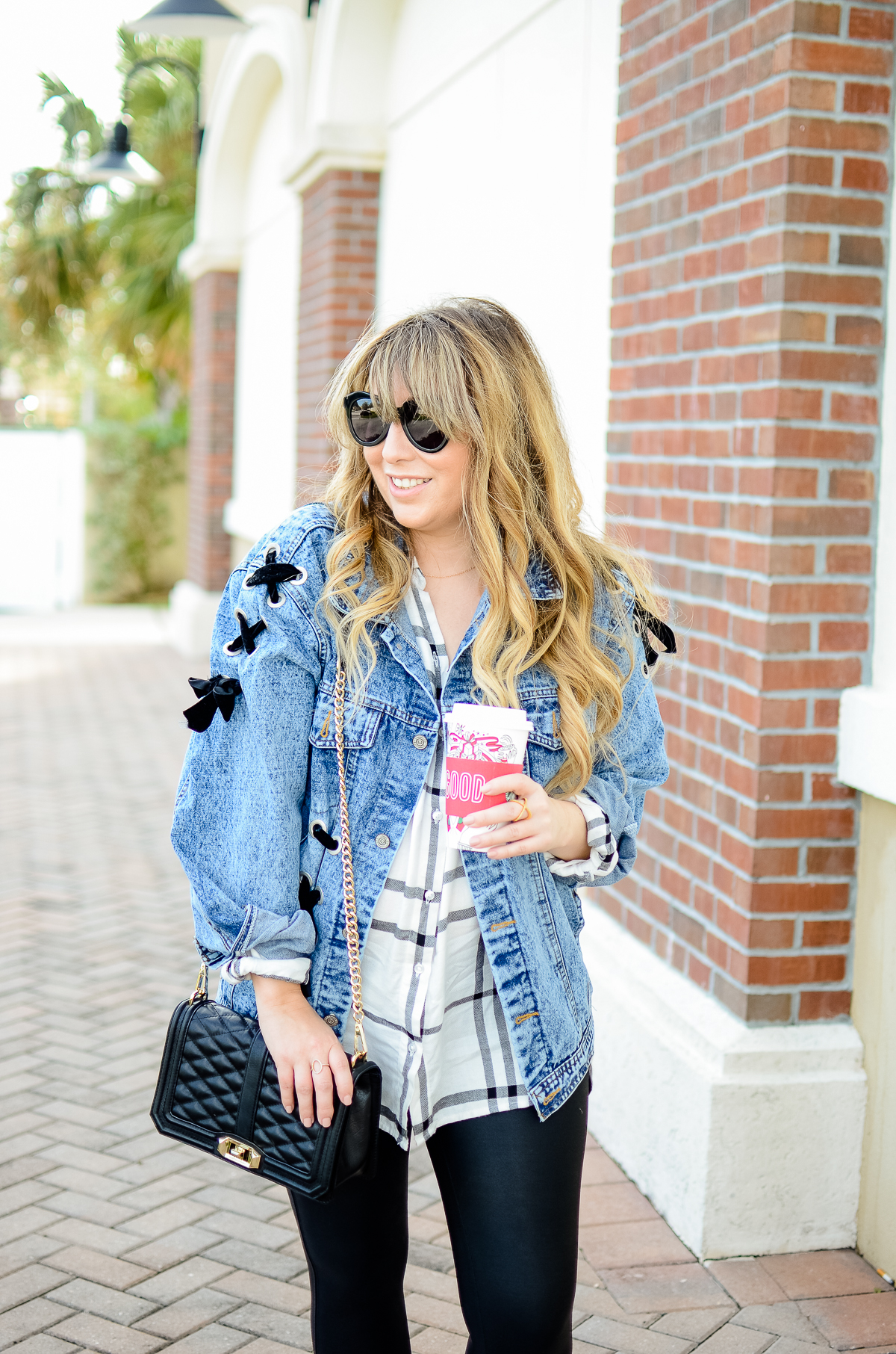 Shein denim jacket, Old Navy plaid button down, SPANX leather leggings