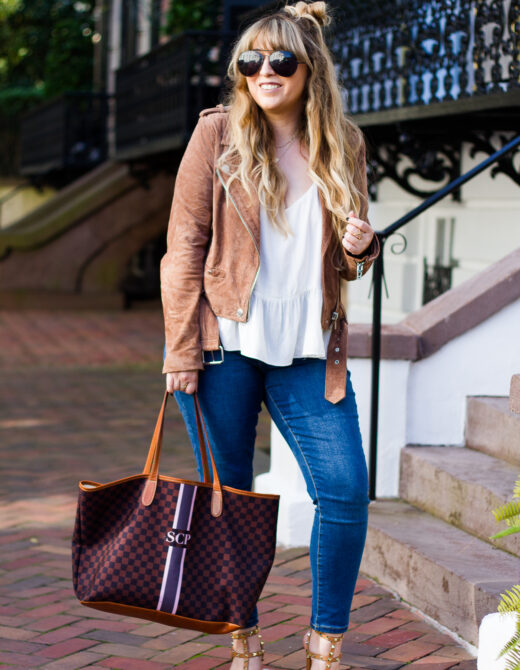 Suede moto jacket and jeans outfit idea for fall