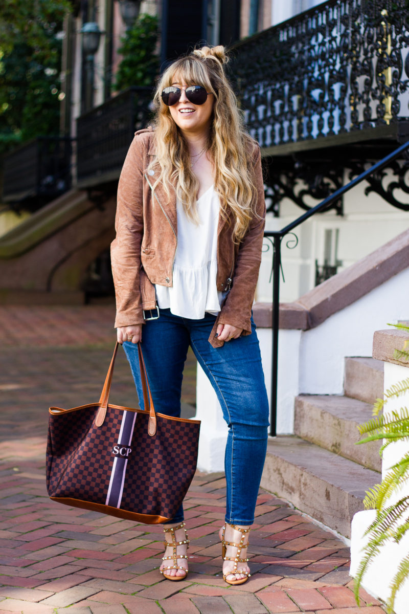 Casual moto jacket and jeans outfit idea