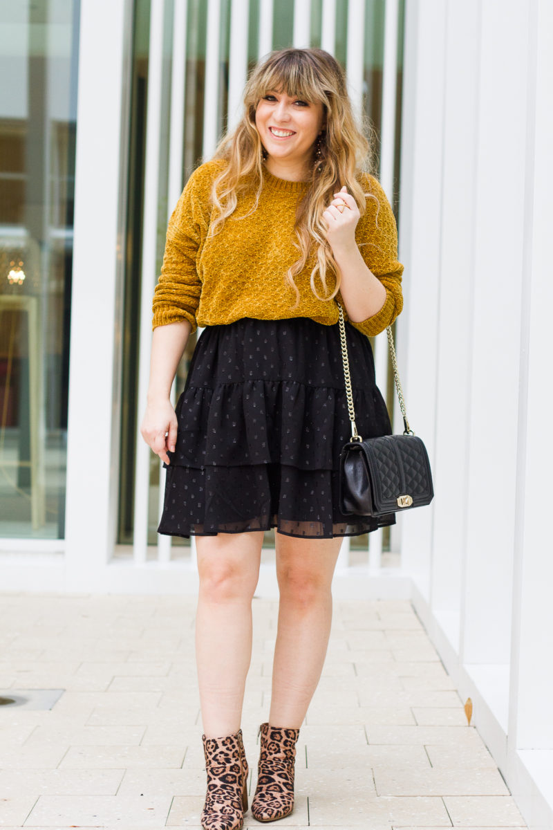 Gold sweater + LOFT skirt + leopard booties