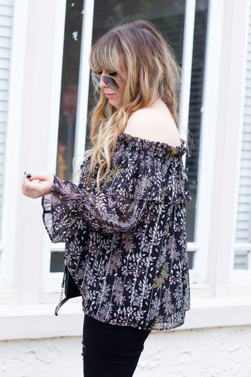Rayban aviators and off the shoulder top