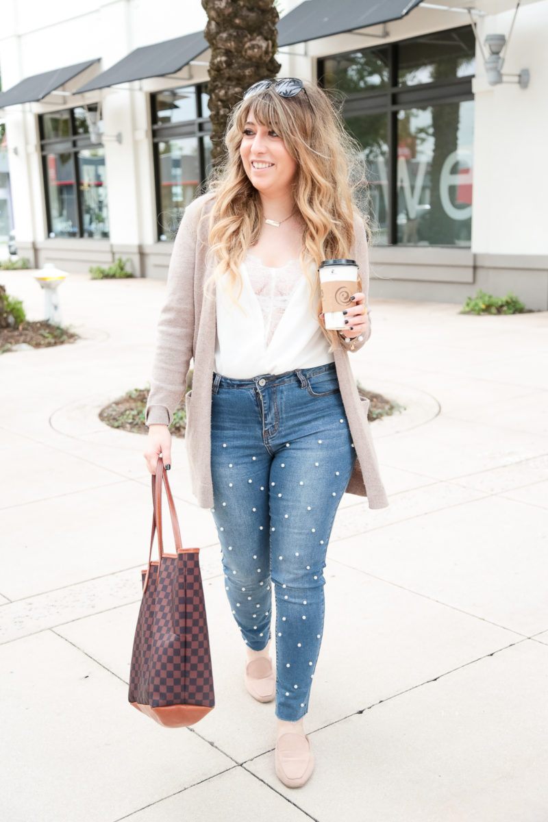 Pearl jeans and cami outfit