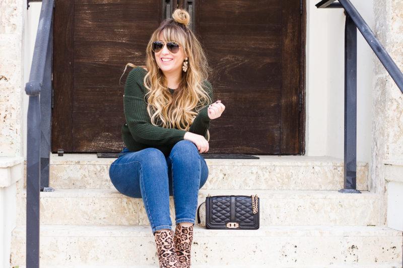 Green pearl sweater + leopard booties