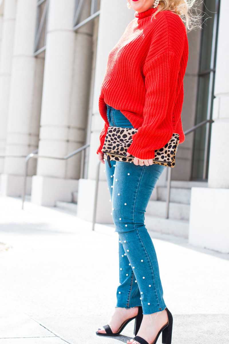 Valentine's Day Outfit Idea- red sweater + pearl jeans