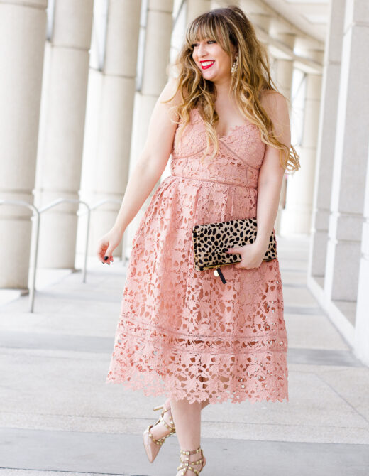 VValentine's Day dress – pink lace midi dress