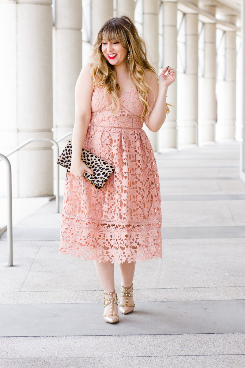 Valentine's Day dress - pink lace midi dress, pink lace dress, lace dress, valentine's day dress, affordable lace dress, affordable pink dress, midi dress, lace midi dress, leopard clutch, clare v leopard foldover clutch, clare v clutch, pearl earrings, baublebar earrings, valentino rockstud dupes, valentino rockstud lookalikes