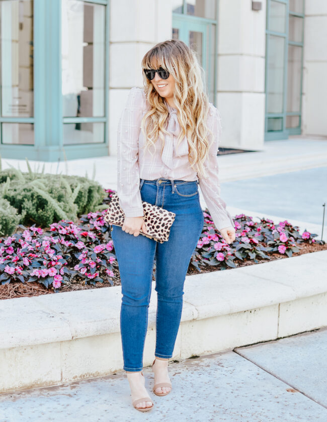 Pearl embellished top and jeans for spring-3