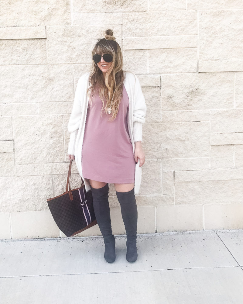 Pink dress, fuzzy cardigan and over the knee boots