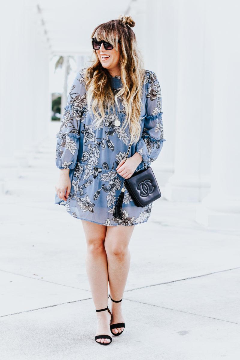 Blue floral dress for spring - spring dresses