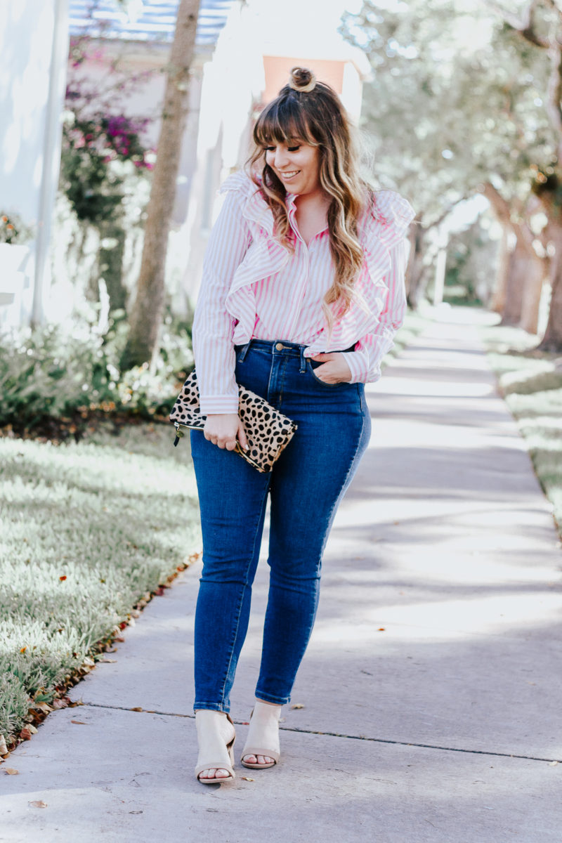 Shein Pink Stripe ruffle top + jeans outfit for spring-5