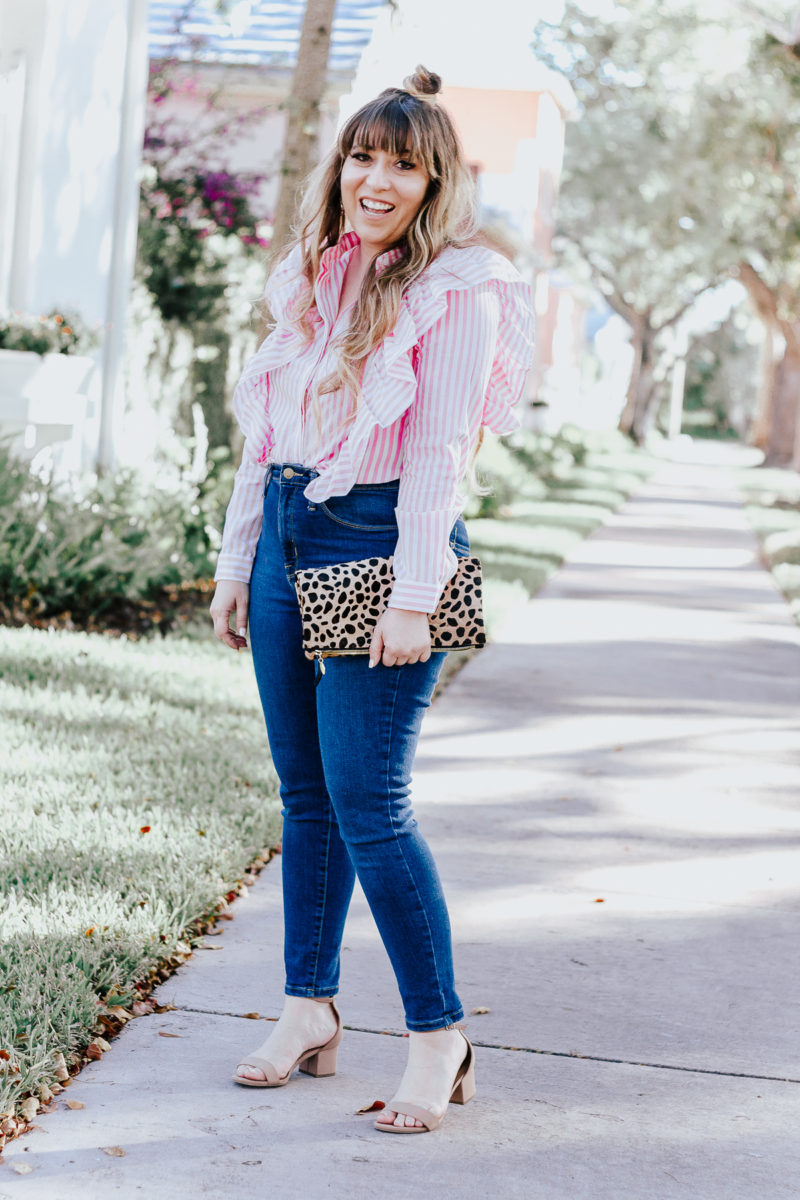 casual workwear: jeans and a ruffle blouse