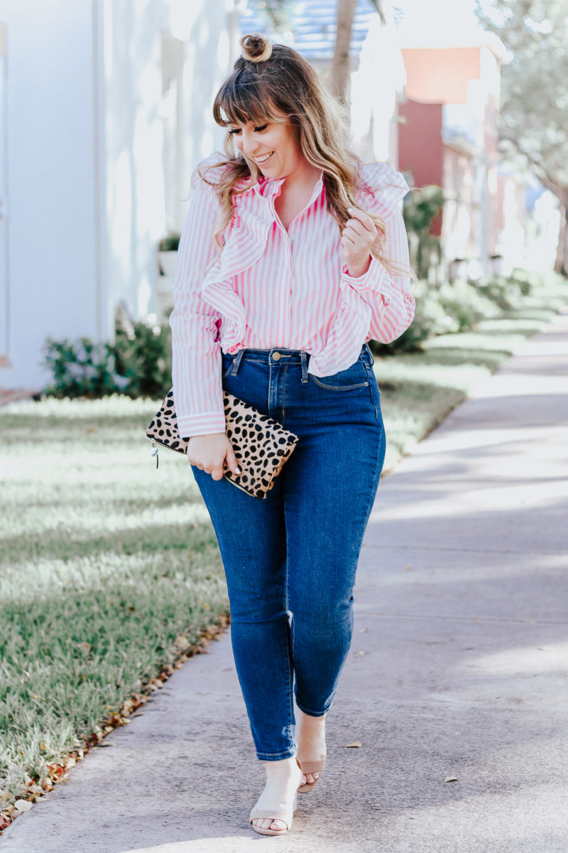 Spring outfit idea: stripe blouse and jeans
